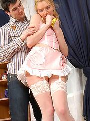 Ninette&Vitas having passionate nylon sex