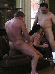 Big tit slut cheats on her man with two dirty dicks at once