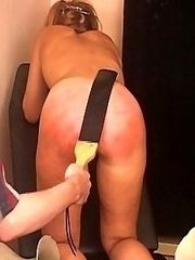 Pretty blonde strapped on her tender young ass whilst tied to a bench - real tears of pain