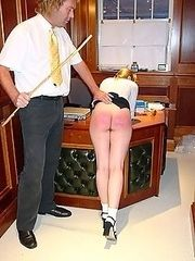 Pretty school girl caned hard on her stunning young ass