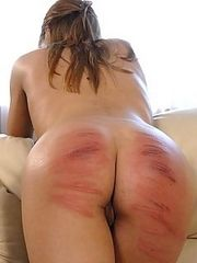 Severe caning punishment for beautiful naked girls - deep stripe marks