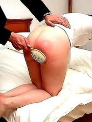 Hard hairbrush beating in the bedroom for naughty young girl
