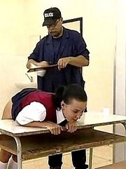 Severe knickers down caning for school girls bent over the desk - welts and tears