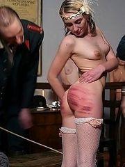 Three prostitutes taken into custody and beaten on their full plump bottoms - severe strokes