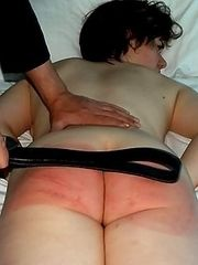 Dormitory beatings with the leather belt for a young innocent looking girl