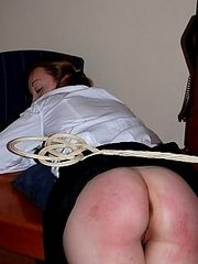 Virgin schoolgirl is feeling the sting of the carpetbeater on her wobbly cheeks