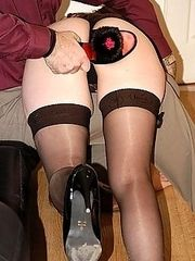 Hard bare bottom slippering for naughty housewife - sore red cheeks