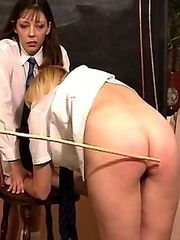 Pretty school girls forced to remove their knickers and bend over for the cane