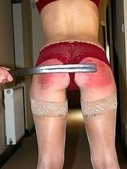 Severe caning for beautiful girl - bright scarlet buttocks