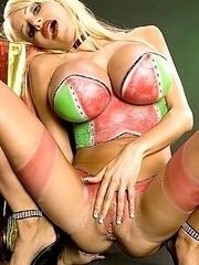 Danielle wears sexy painted lingerie