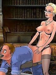 Bossy librarian shags a femdom junkie