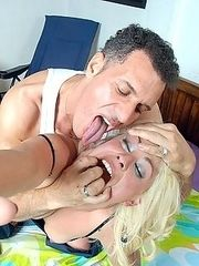 Blonde gets roughed up and clothes ripped off before hard fucking