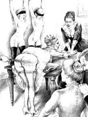 Pencil drawings of girls getting punishments