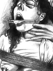 Various pencil artworks of tortures and brutality