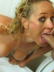 Big tits MILF gag and toilet head flush