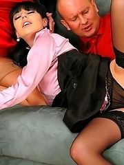 Threesome with Silk Fetish Fuck Fully-Clothed in Expensive Silk Clothes