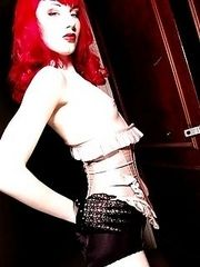 redhead bettie page corset lace gloves garters