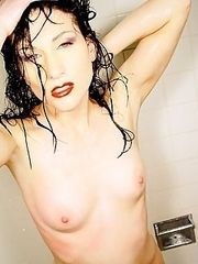 gorgeous naked goth slut showers in white tile