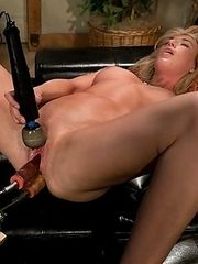 Alll natural blond babe machine double pen,lots of anal fucking