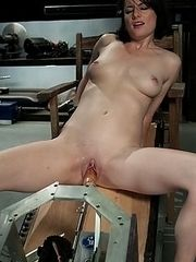 Brand new girl machine fucked,cums quick and hard