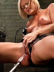 sexy blond machine railed,cums hard and loud from long thick mechanical cock.