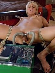 Hot blonde bound tight to the bed,machine fucked HARD until she cums
