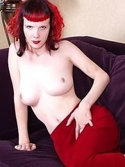 redheaded glam goth strips off gown and spreads