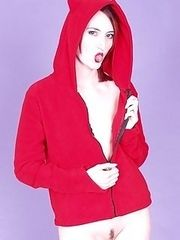 hooded Satanic slut with vibrating devil duck