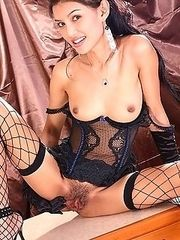 Fon Nisa Strips Black Lingerie And Stockings