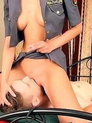 So charming and much imperious The Mistress Olga sitting on slave�s breast and inventing new punishments for him