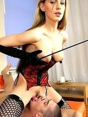 Nice Mistress forces the slave to suck her clit and lick pussy