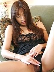 Hot Japanese model Manami in black lingerie
