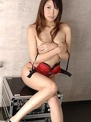 Japanese model Saya Natsukawa in red lingerie