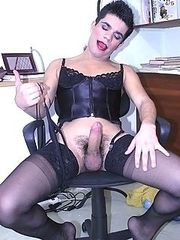 Kinky crossdresser jacking off at work