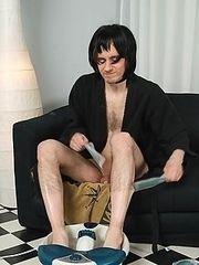 Crossdresser Pete posing in kimono and pleasing himself