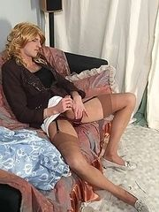 Crossdressed slut gets some fun before real work