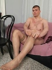 Nasty guy loves jacking off in pink dress