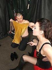 Wild Mistress humiliates bawdy shemale