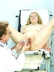 Granny Sofie gyno pussy exam at kinky gyno clinic