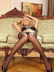 Sexy Julia in her black stockings and heels