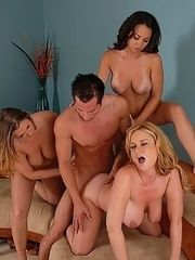Lucky stud sticking it to three gorgeous mature sluts