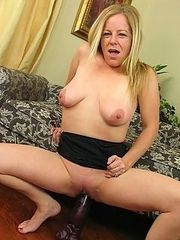 Lynn riding purple brutal dildo
