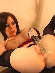 Kream playing with glass dildo