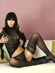 Dark haired Susana in lace dress and holdups