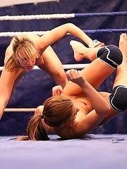 Lesbian nude fight