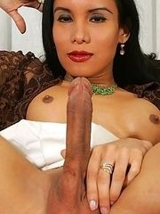Sexy asian tranny dresses up all hot and slutty on the prowl for some new cock. Aisa brings him back to her house and surprises him with a big suprise.
