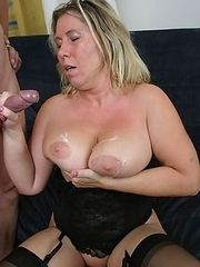 Over 50 slut with big,saggy,juggs rides dick