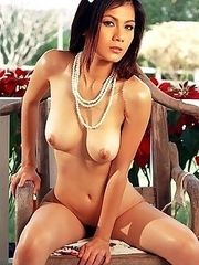Busty Natt Chanapa Bares Big Tits Outdoors