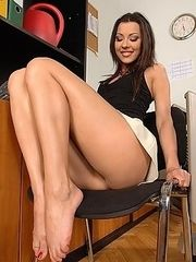 Cindy Hope's foot play in office