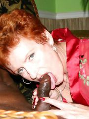 Grandma sucking a BIG BLACK COCK